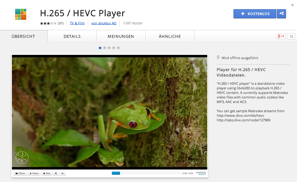 Google Chrome » libde265 HEVC — H 265 High Efficiency Video Coding